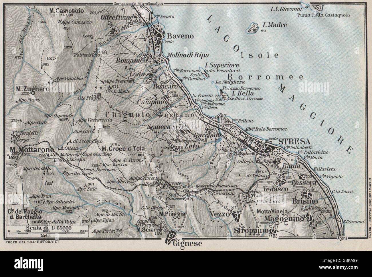 Lake Lago Maggiore Stresa Baveno Gignese Vintage Map Plan Italy