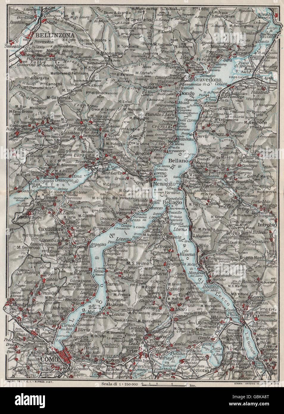 LAKE LAGO DI COMO Vintage map plan Bellinzona Lecco Italy 1924