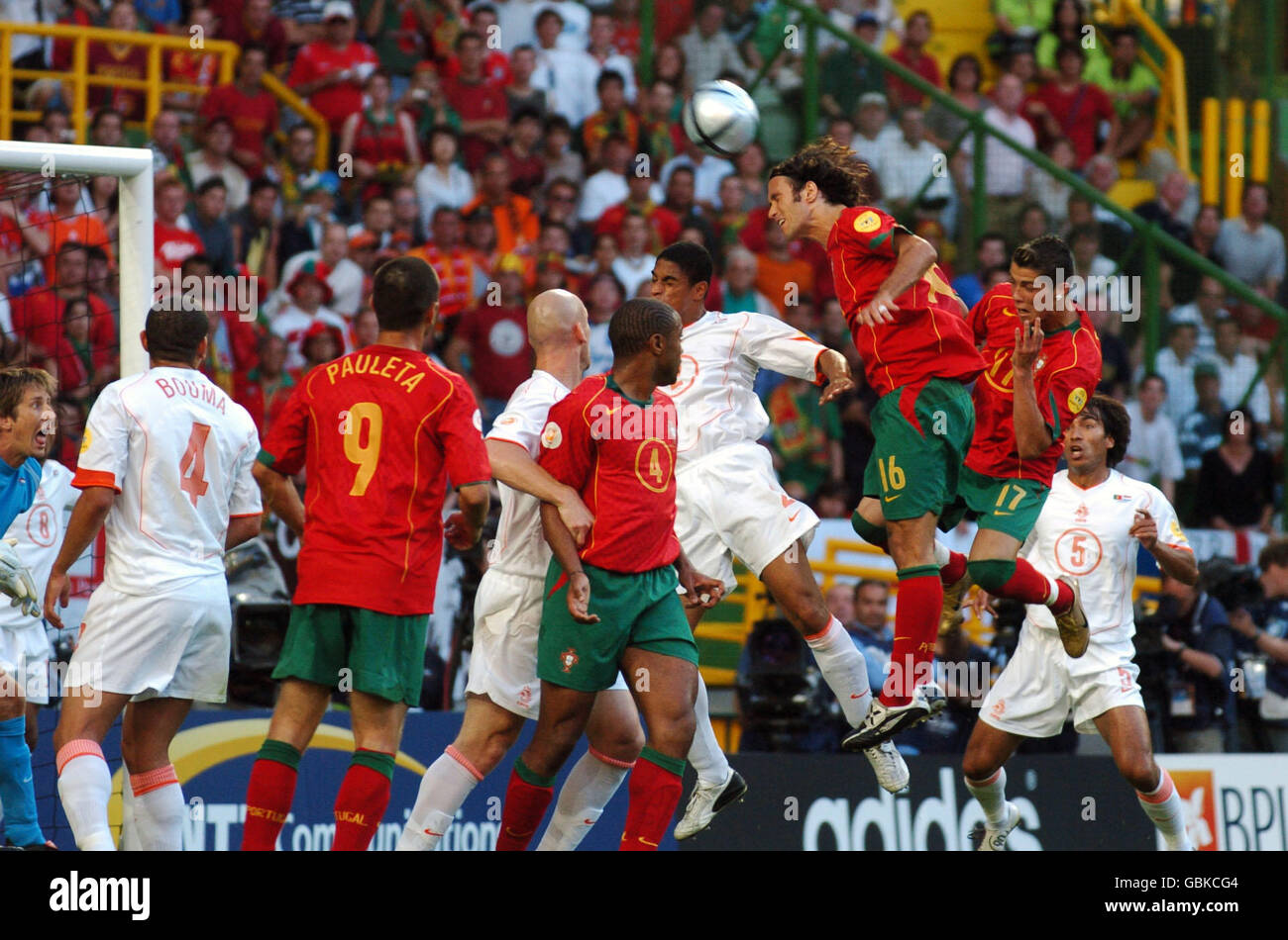 Portugal's Cristiano Ronaldo scores the opening goal of the game Stock Photo