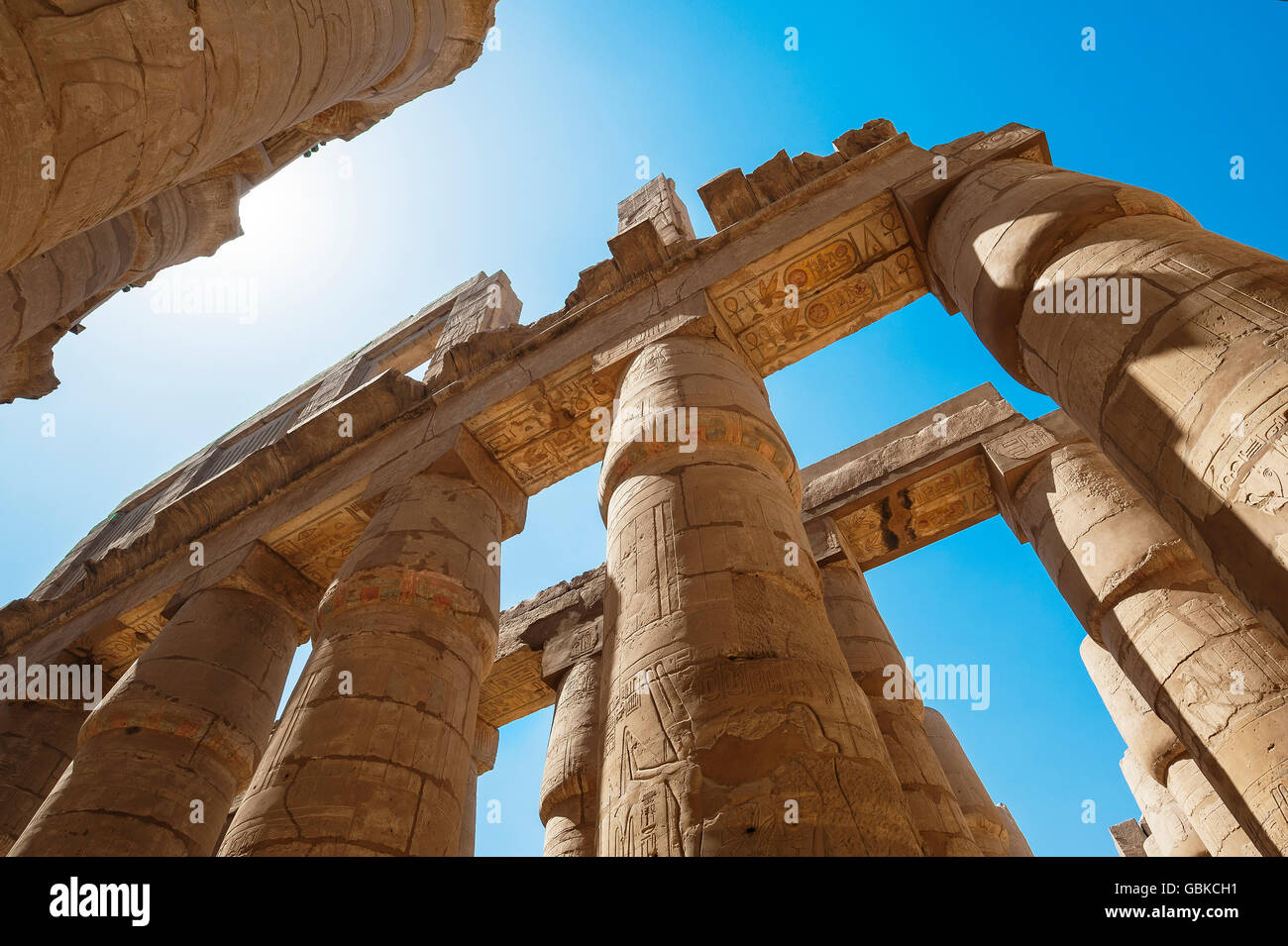 Portico with original color painting, Karnak Temple, Karnak, Luxor, Egypt - Stock Image