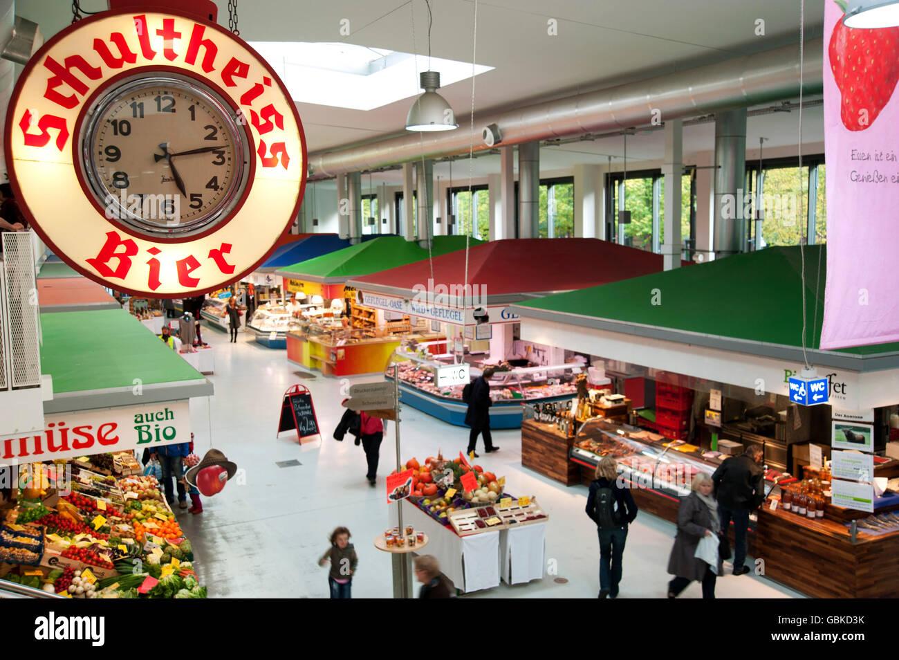 Marheineke market hall in Kreuzberg, Berlin - Stock Image