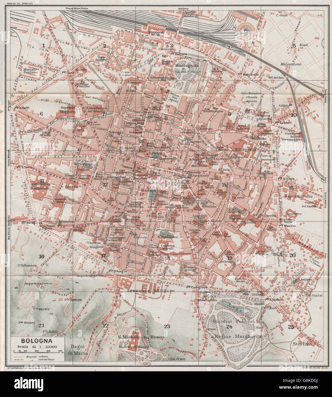 BOLOGNA Vintage town city map plan Italy 1924 Stock Photo
