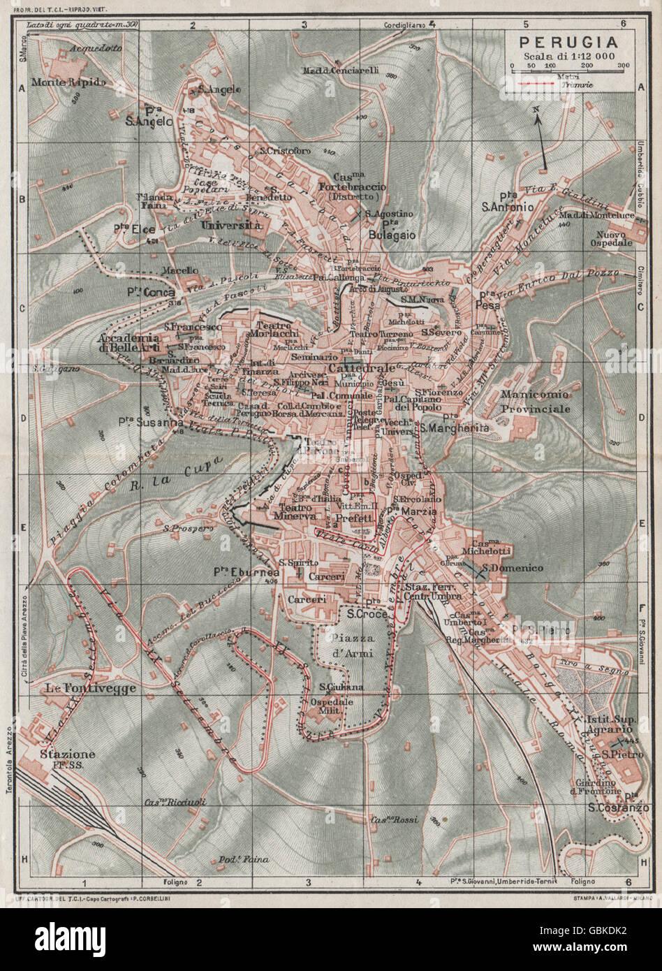Perugia Vintage Town City Map Plan Italy 1924 Stock Photo
