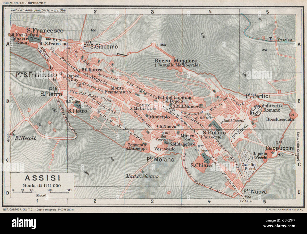 Assisi Vintage Town City Map Plan Italy 1924 Stock Photo