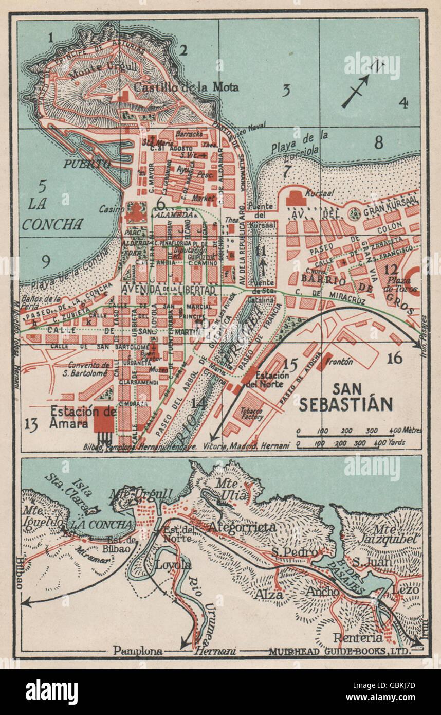 San Sebastian Map Of Spain.San Sebastian Vintage Town City Map Plan Spain 1930 Stock Photo