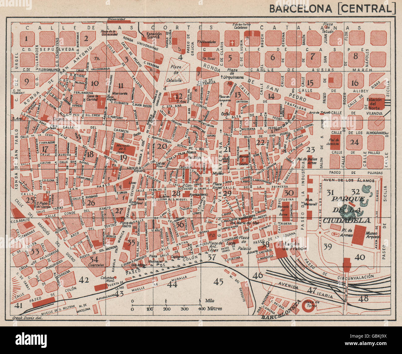 Map Of Central Spain.Barcelona Central Vintage Town City Map Plan Spain 1930 Stock