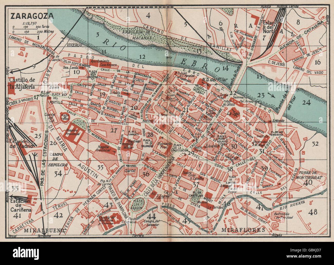Zaragoza Map Of Spain.Zaragoza Vintage Town City Map Plan Spain 1930 Stock Photo