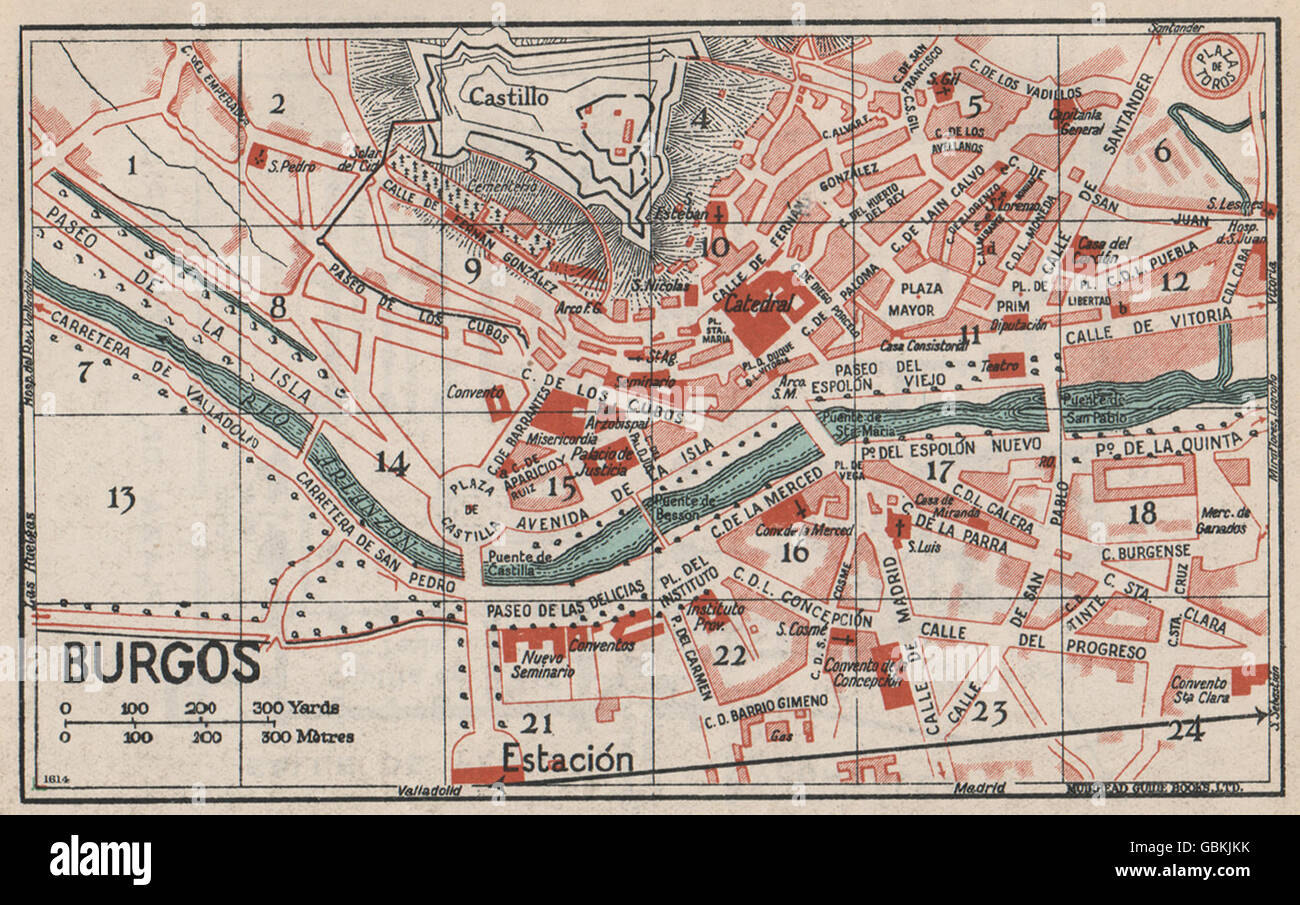 Burgos Vintage Town City Map Plan Spain 1930 Stock Photo