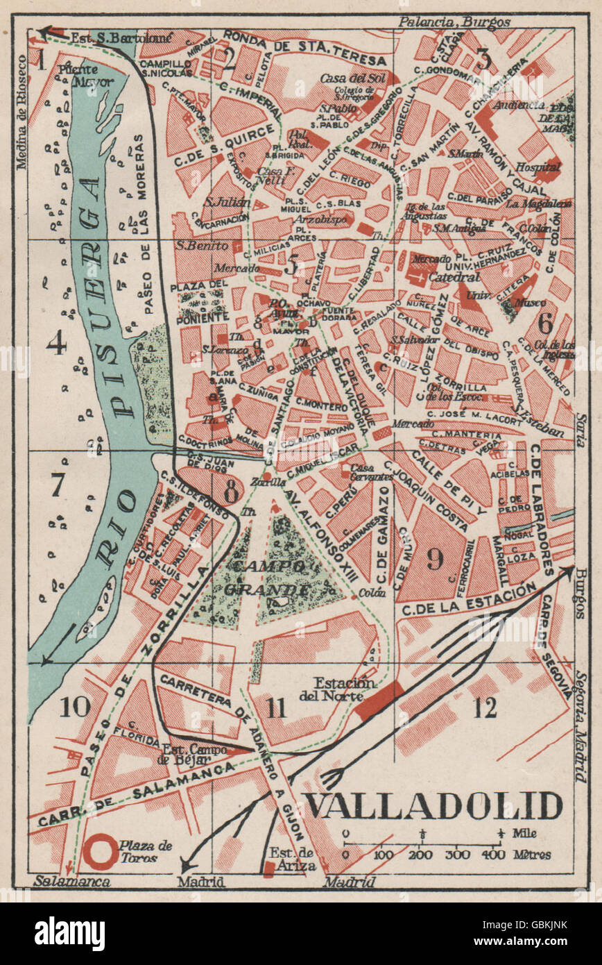 Map Of Spain Valladolid.Valladolid Vintage Town City Map Plan Spain 1930 Stock Photo