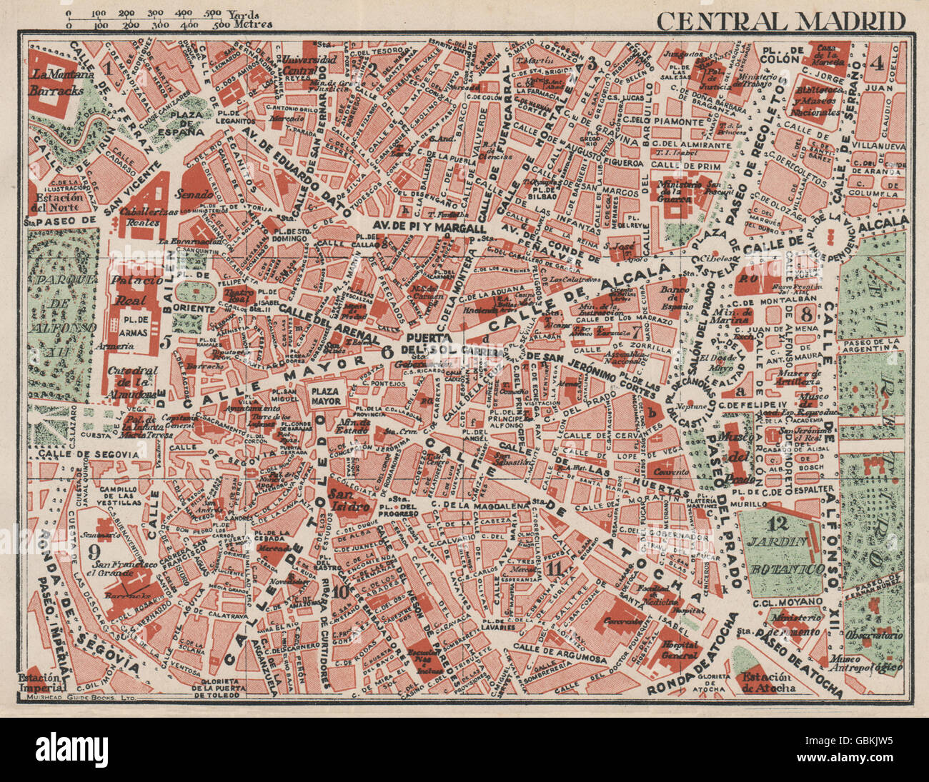 Map Of Central Spain.Central Madrid Vintage Town City Map Plan Spain 1930 Stock Photo