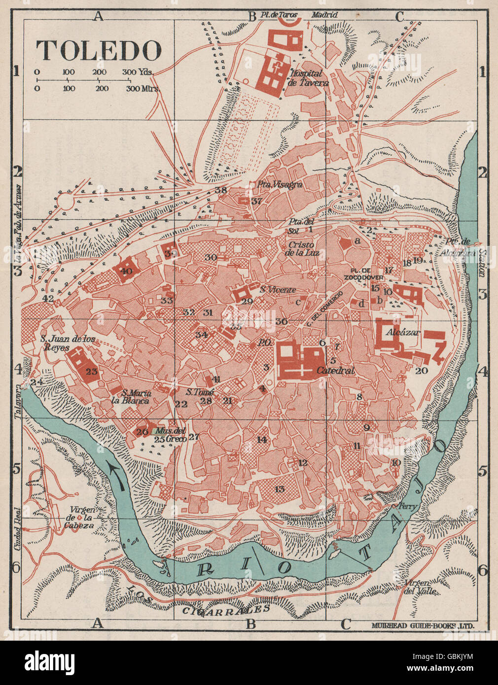 TOLEDO Vintage town city map plan Spain 1930 Stock Photo