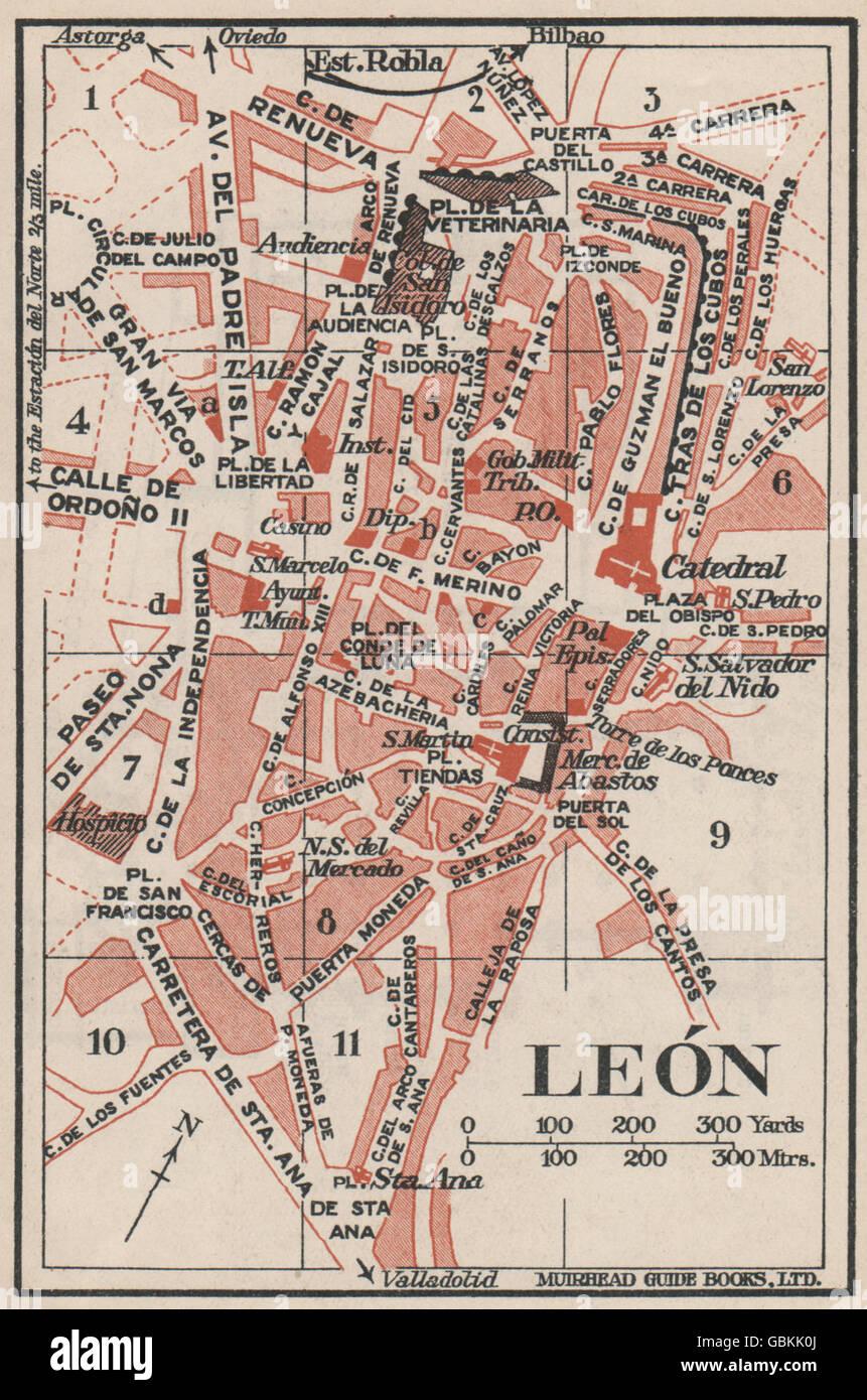 Map Of Spain Leon.Leon Leon Vintage Town City Map Plan Spain 1930 Stock Photo
