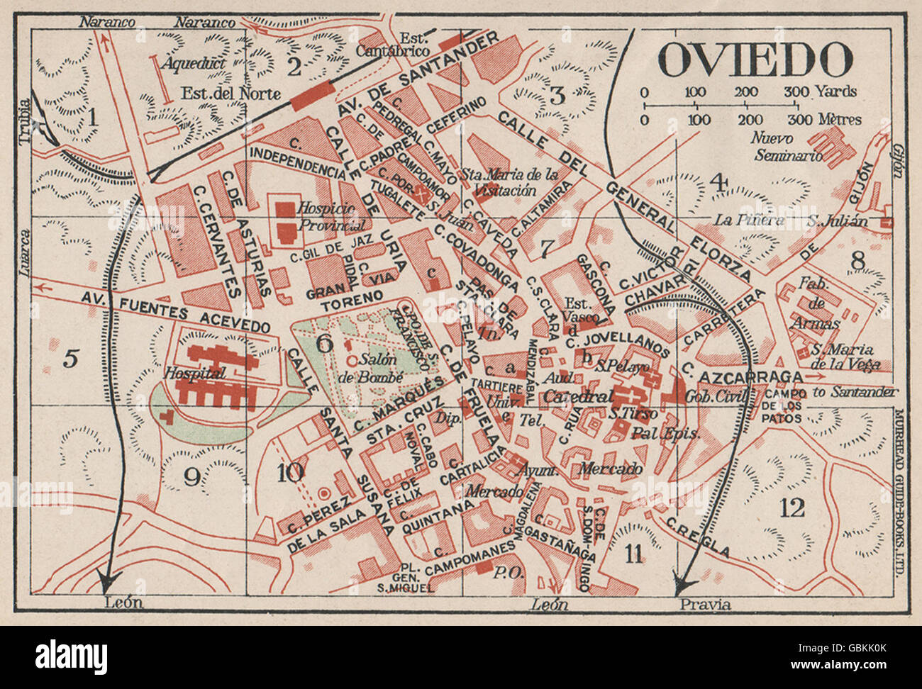 Map Of Spain 1930.Oviedo Vintage Town City Map Plan Spain 1930 Stock Photo