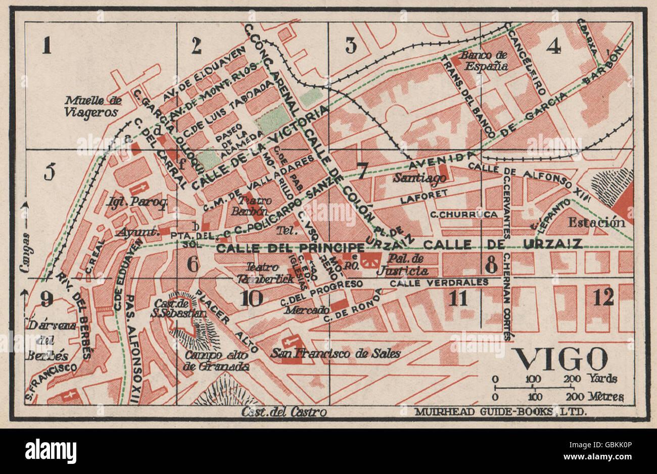Vigo Vintage Town City Map Plan Spain 1930 Stock Photo 110455430