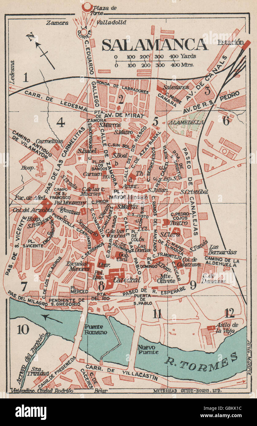 Map Of Spain 1930.Salamanca Vintage Town City Map Plan Spain 1930 Stock Photo