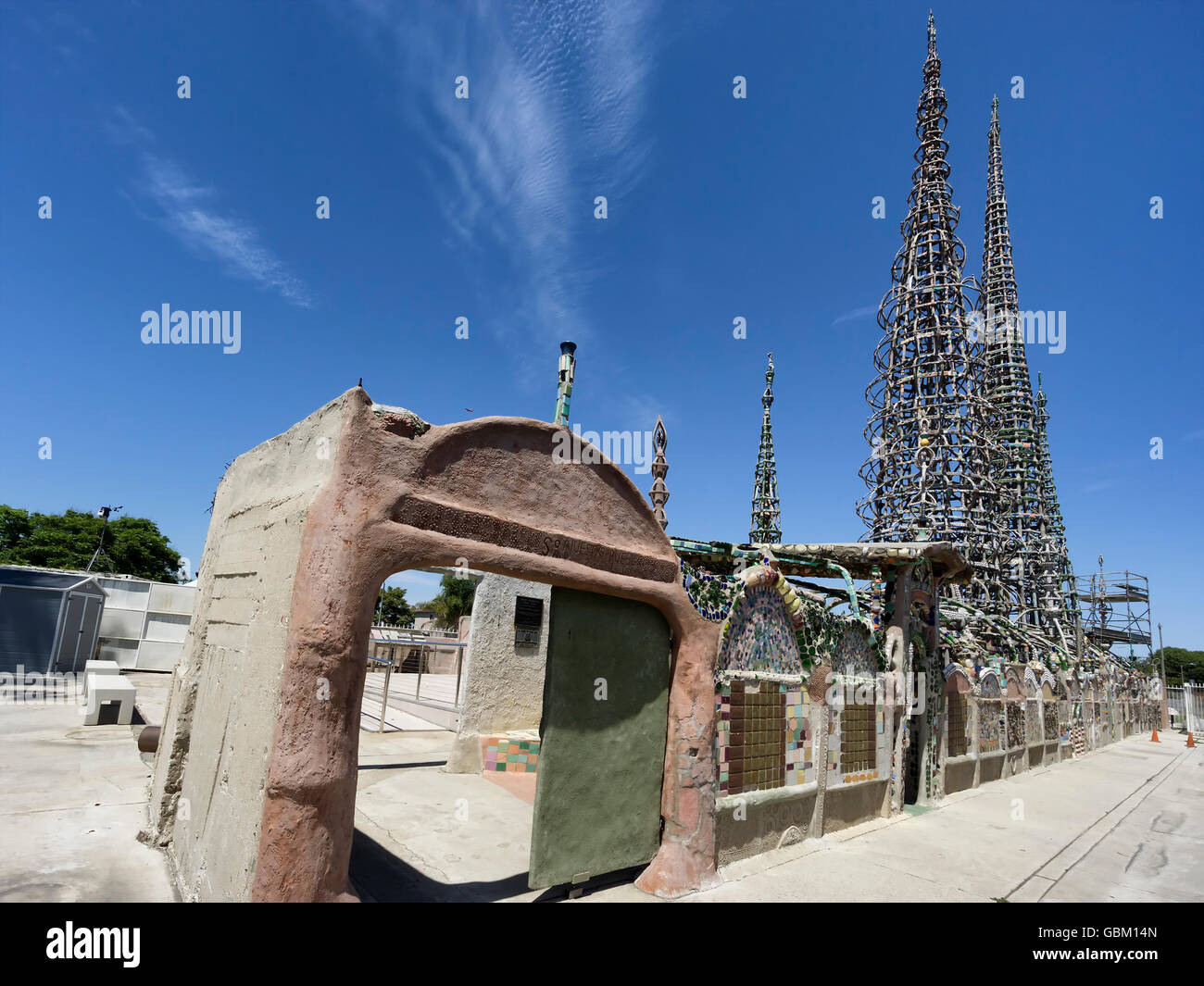 Watts Towers in Los Angeles. A collection of 17 interconnected sculptural structures - Stock Image