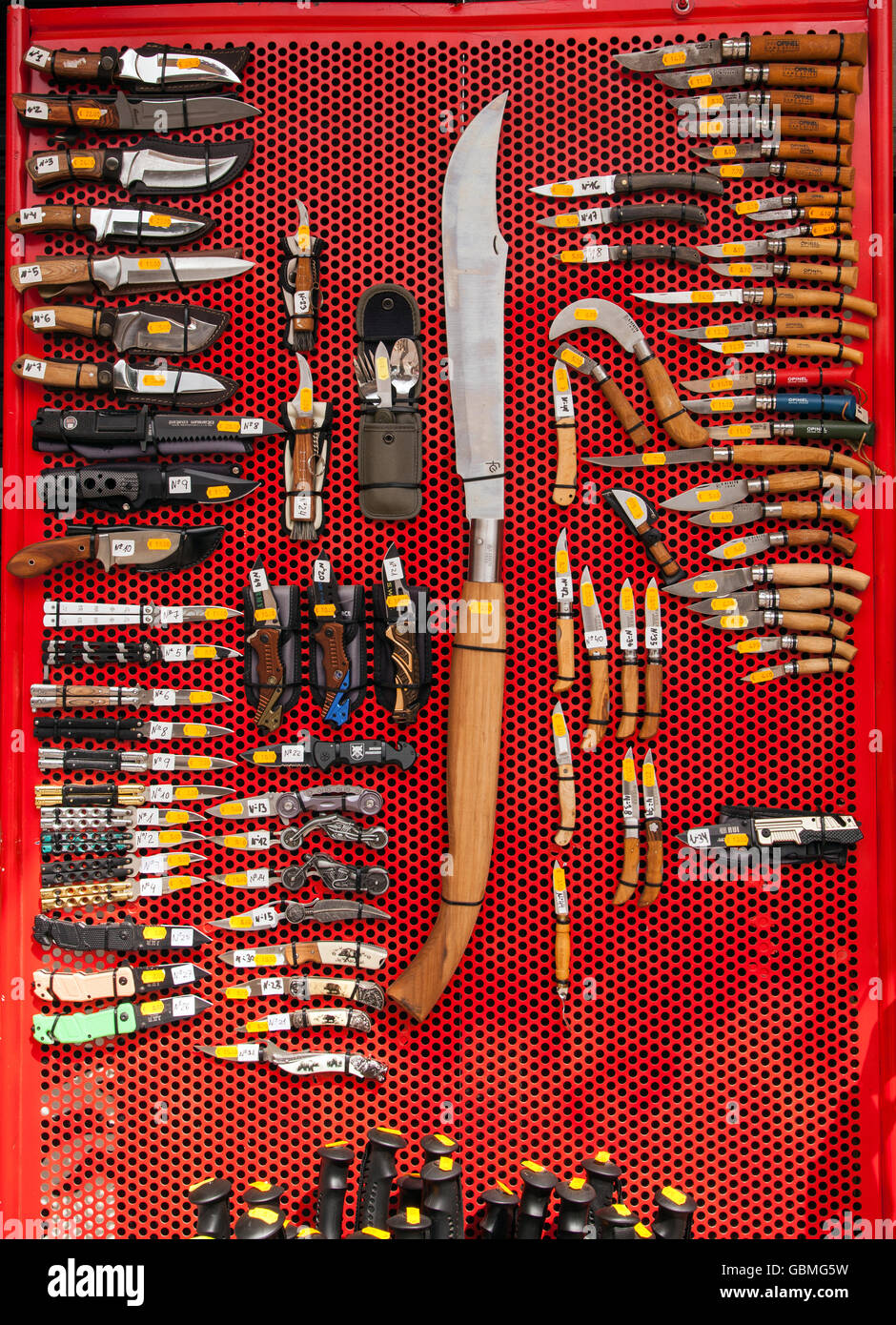 Knifes for sale outside a shop in Potes Northern  Spain - Stock Image