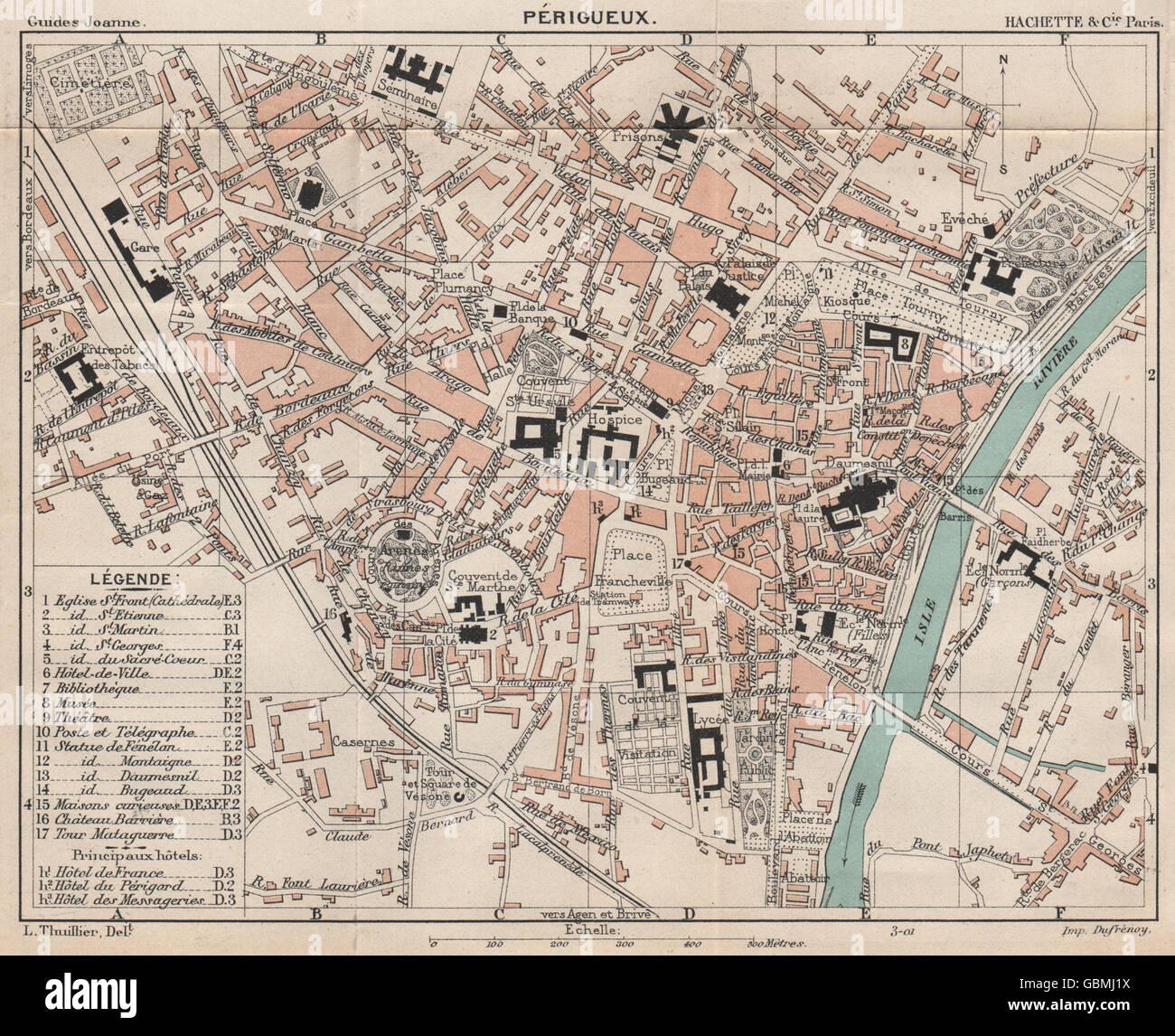 PÉRIGUEUX. Vintage town city ville map plan carte. Dordogne, 1899 Stock Photo: 110476630 - Alamy