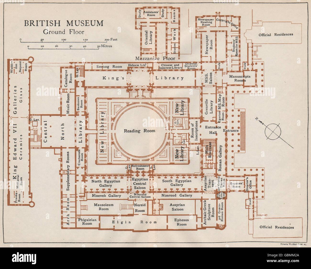 Map British Museum BRITISH MUSEUM. Ground floor vintage map plan. London, 1927 Stock