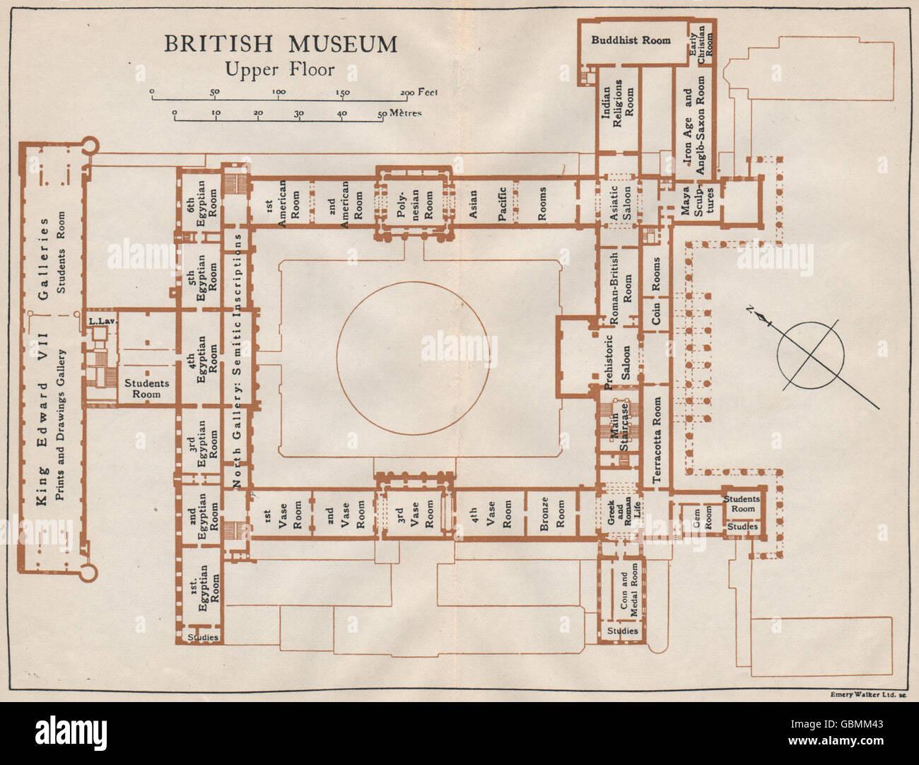 British Museum Upper Floor Vintage Map Plan London 1927 Stock