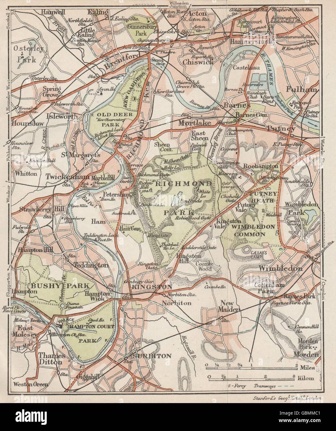 London Sw Map.Sw London Richmond Barnes Kingston Chiswick Wimbledon Kew Bushy