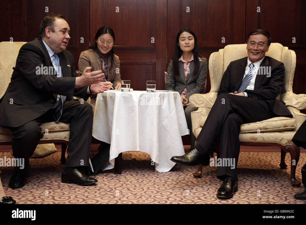 Alex Salmond meets China's Vice-Premier Wang - Stock Image