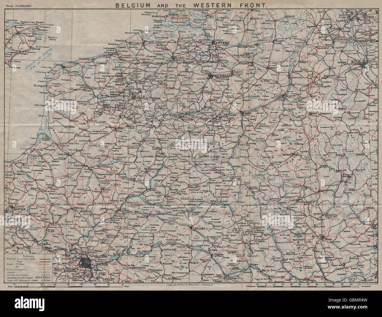 Map Of Northern France Belgium.Belgium The Western Front Vintage Map North East France Stock