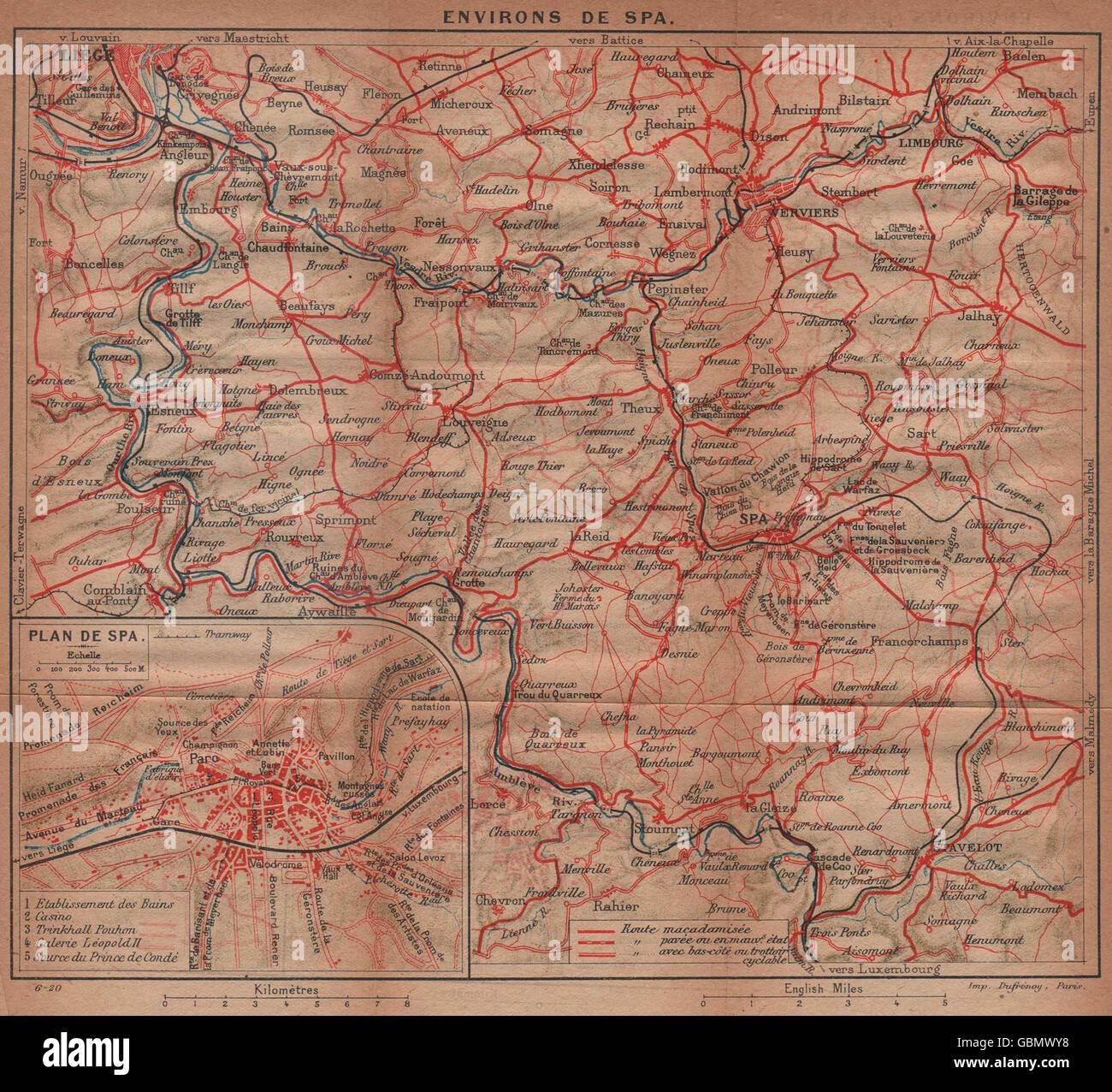 lige lige verviers vintage map plan belgium 1920
