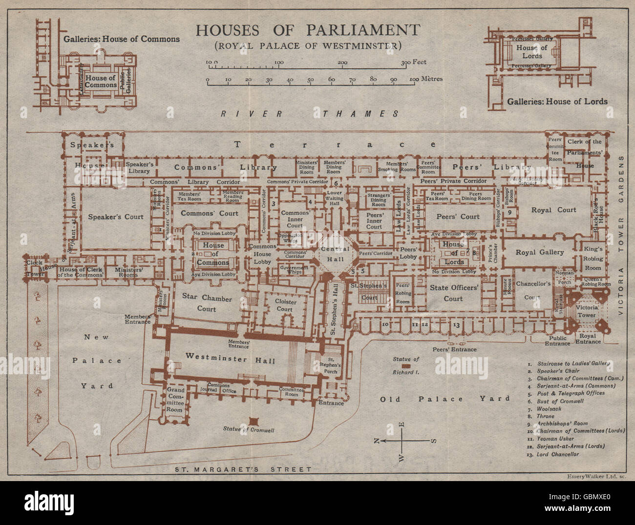 Houses Of Parliament Map HOUSES OF PARLIAMENT (PALACE OF WESTMINSTER) . Vintage map plan  Houses Of Parliament Map