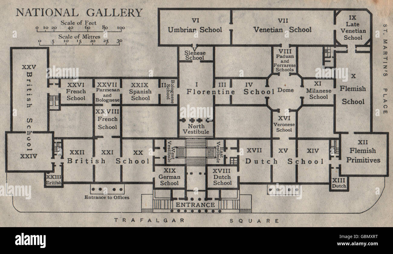 National Gallery London Map.National Gallery Vintage Map Plan London 1919 Stock Photo