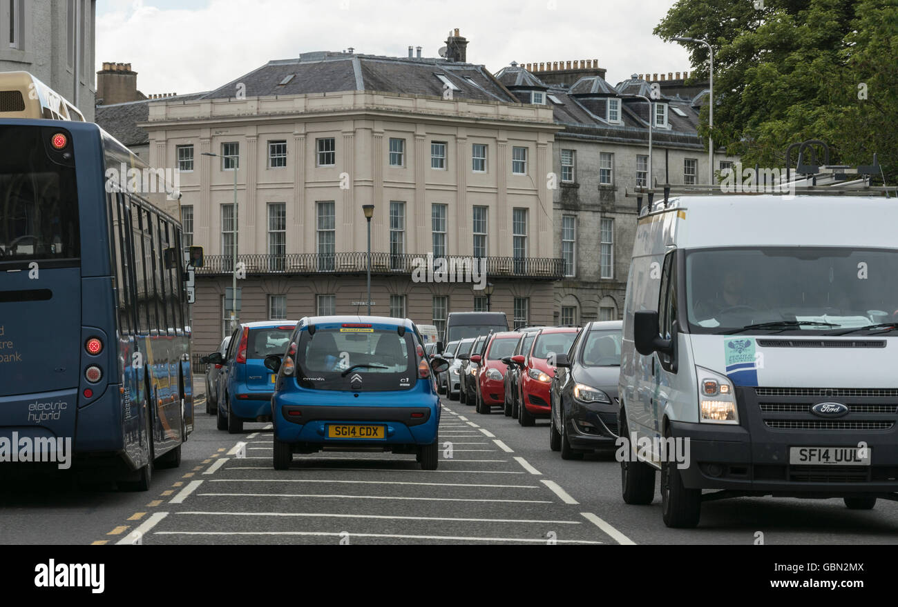 Heavy traffic congestion,Perth,Scotland,UK, - Stock Image