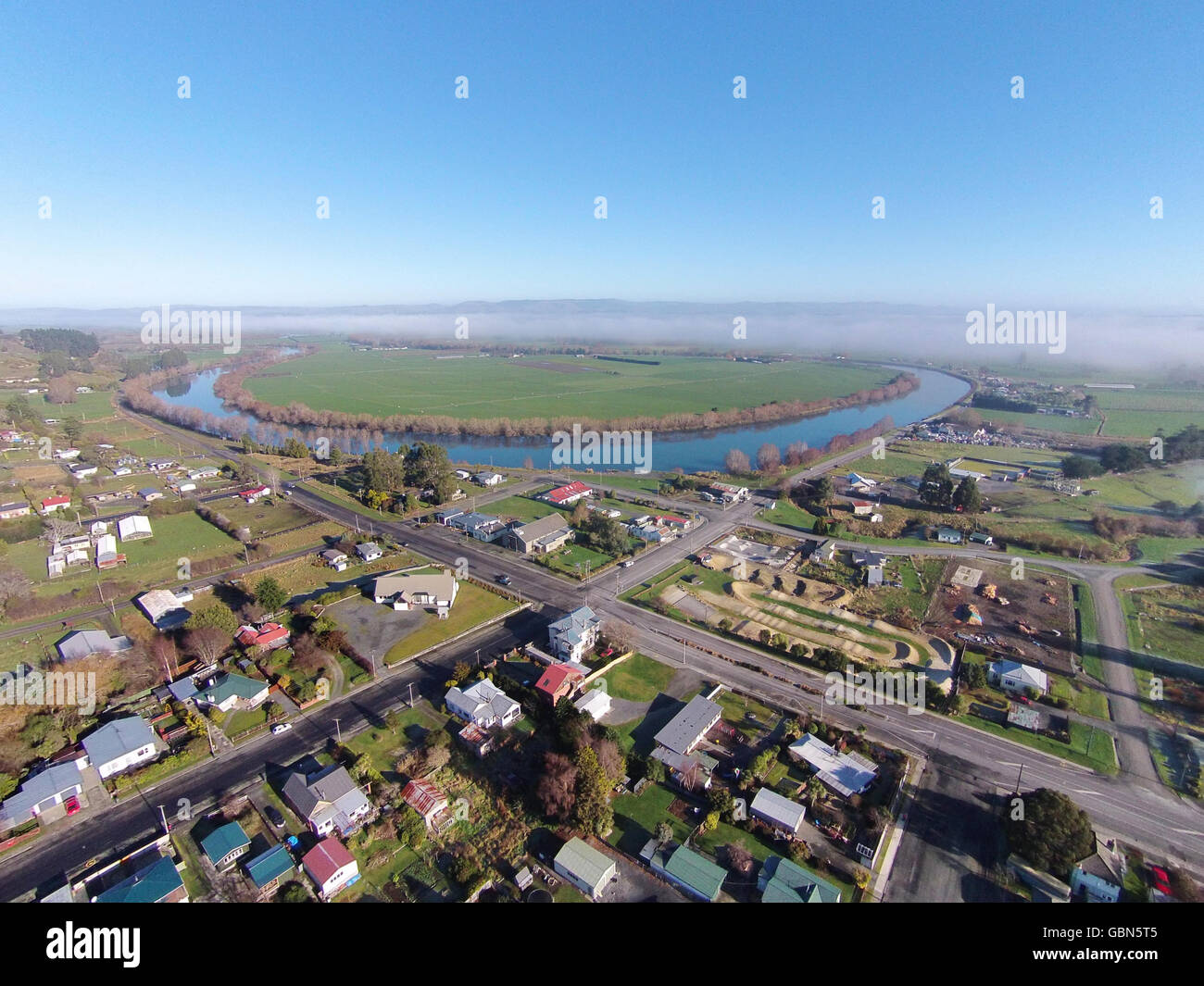 Kaitangata, and Clutha River, near Balclutha, Clutha District, South Otago, South Island, New Zealand - drone aerial Stock Photo