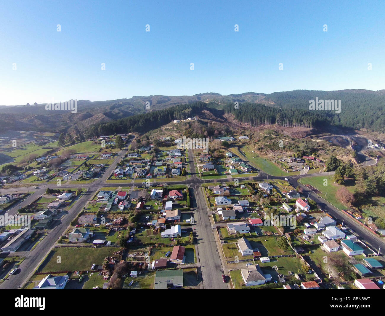 Kaitangata, near Balclutha, Clutha District, South Otago, South Island, New Zealand - drone aerial Stock Photo