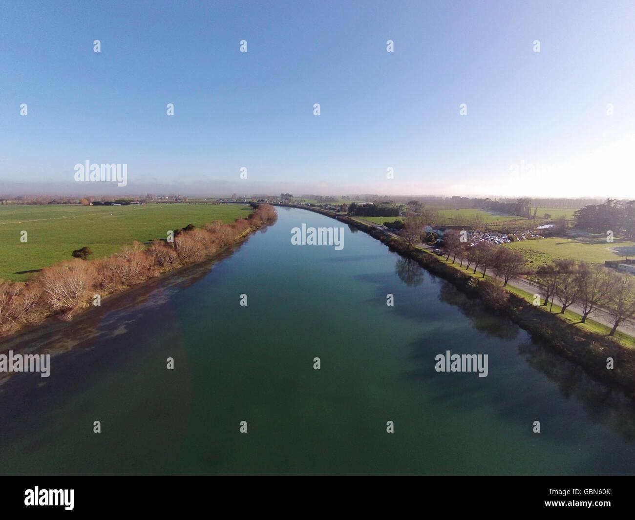 Clutha River at Kaitangata, near Balclutha, Clutha District, South Otago, South Island, New Zealand - drone aerial Stock Photo
