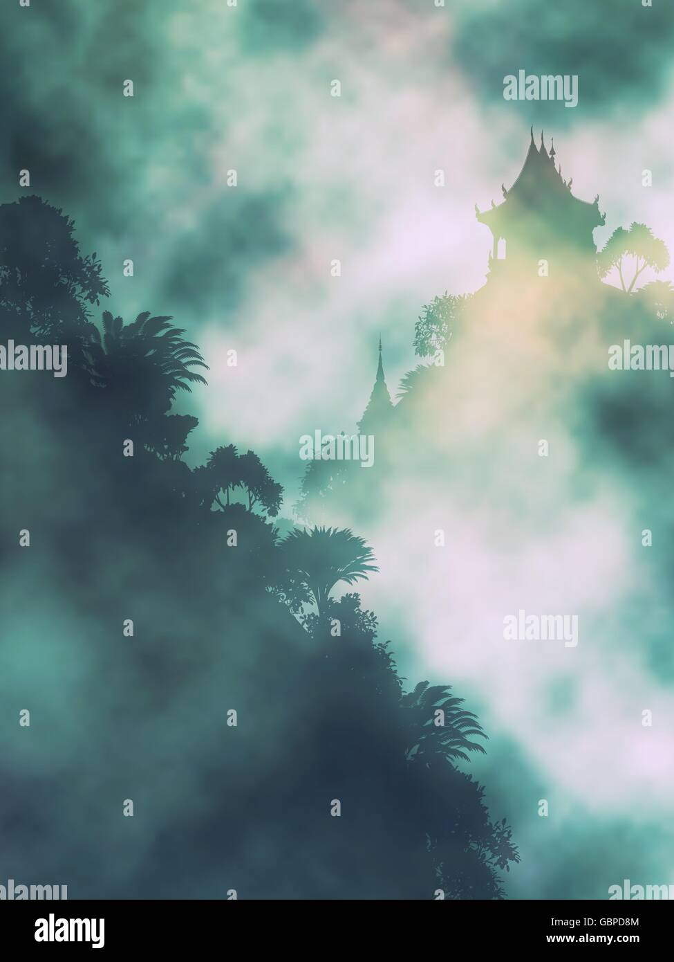 Editable vector illustration of a Buddhist temple in misty mountains made using gradient meshes Stock Vector