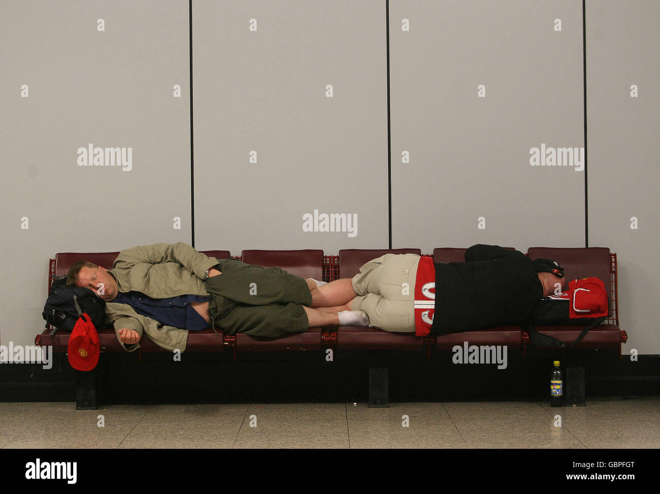 Soccer - UEFA Champions League - Final - Manchester United Fans Return Home- Rome Fiumicino Airport - Stock Image