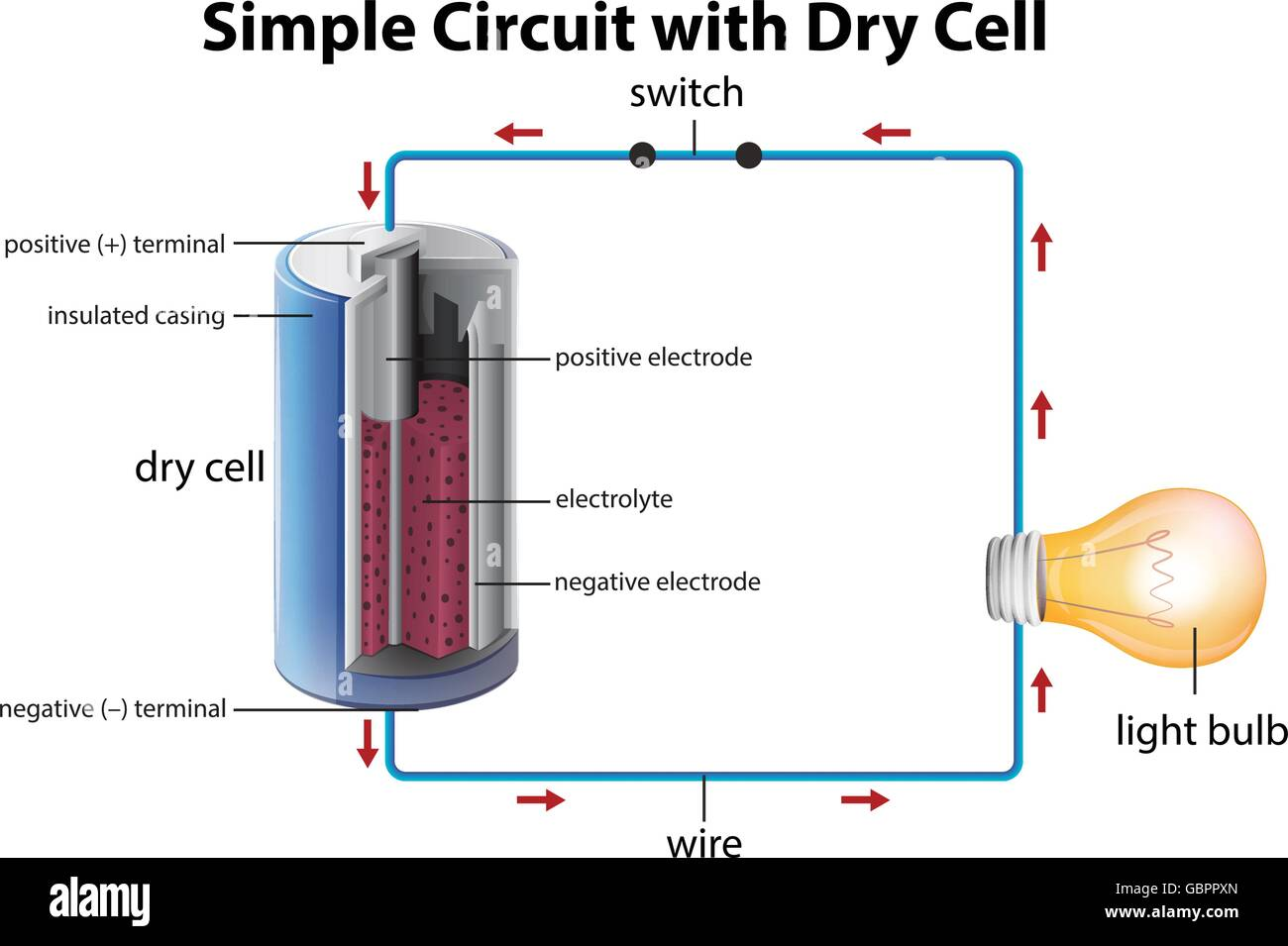 Diagram showing simple circuit with dry cell illustration Stock ...