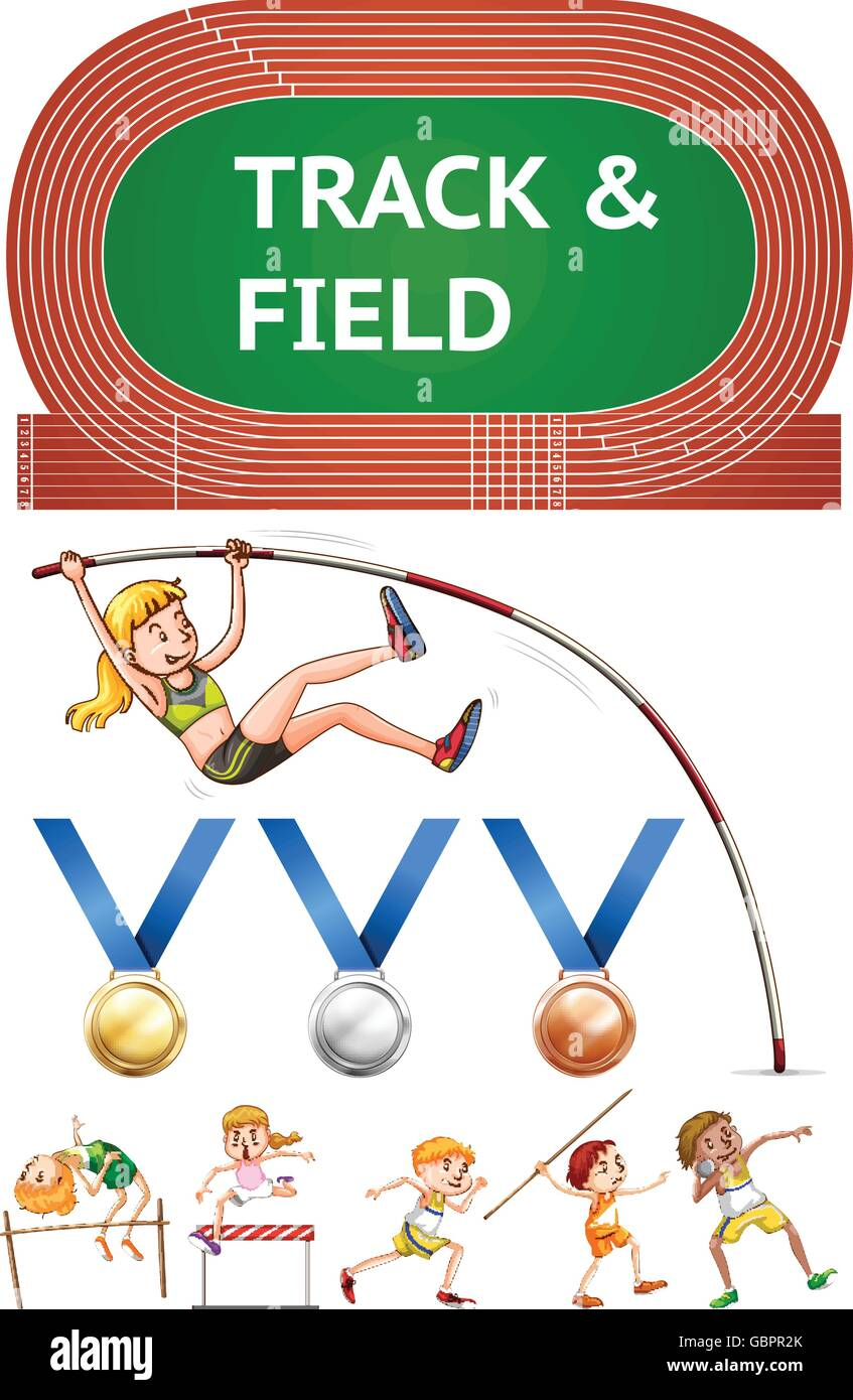 Track and field sports and sport medals illustration Stock Vector