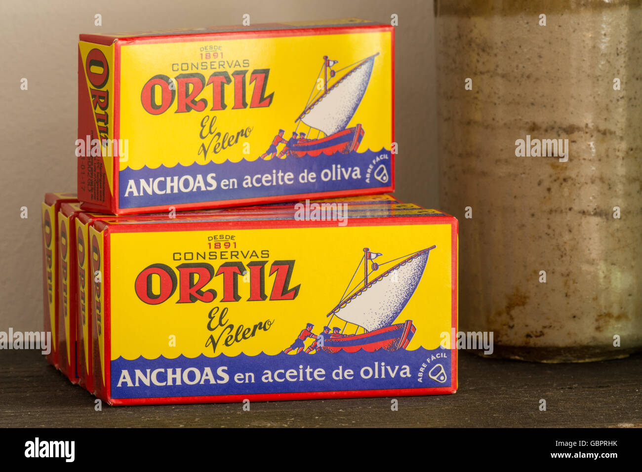 Anchovies - Ortiz Anchovies in Olive Oil - Stock Image
