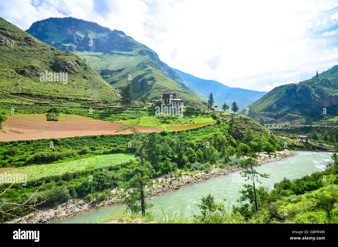 Breathtaking View of Mountains in Bhutan - Stock Image