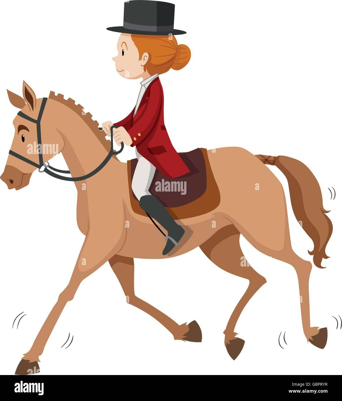 Woman Doing Horseback Riding Illustration Stock Vector Image Art Alamy