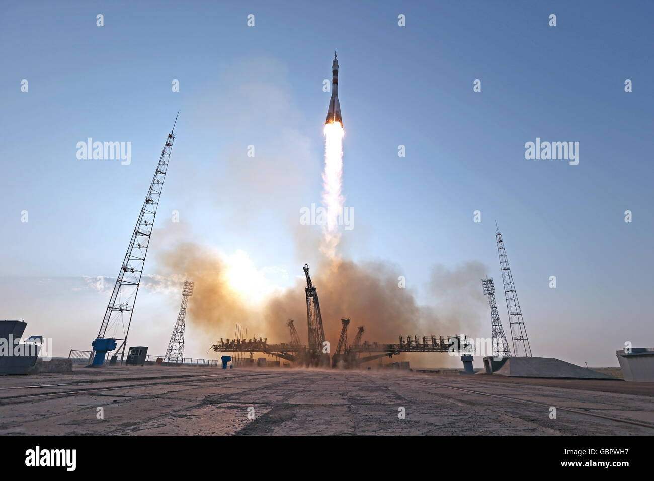 Baikonur Cosmodrome, Kazakhstan. 7th July, 2016. A Soyuz-FG rocket booster carrying the Soyuz MS-01 spacecraft with Stock Photo
