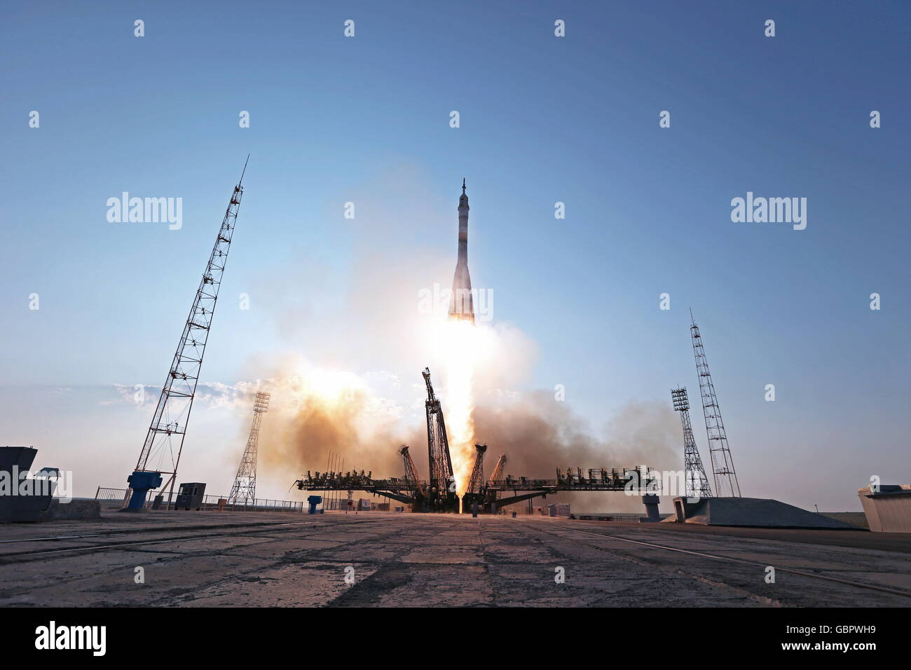 Baikonur Cosmodrome, Kazakhstan. 7th July, 2016. A Soyuz-FG rocket booster carrying the Soyuz MS-01 spacecraft with - Stock Image