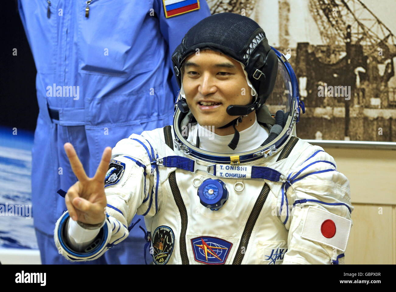 Baikonur Cosmodrome, Kazakhstan. 7th July, 2016. Japanese austronaut Takuya Onishi (JAXA), a member of the main - Stock Image
