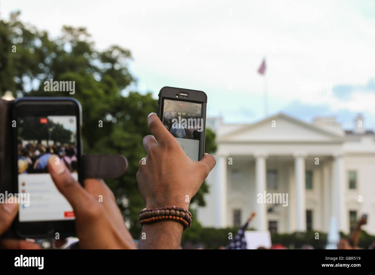 Protesters gather in front of the White House after recent police involved shootings of Alton Sterling and Philando Stock Photo
