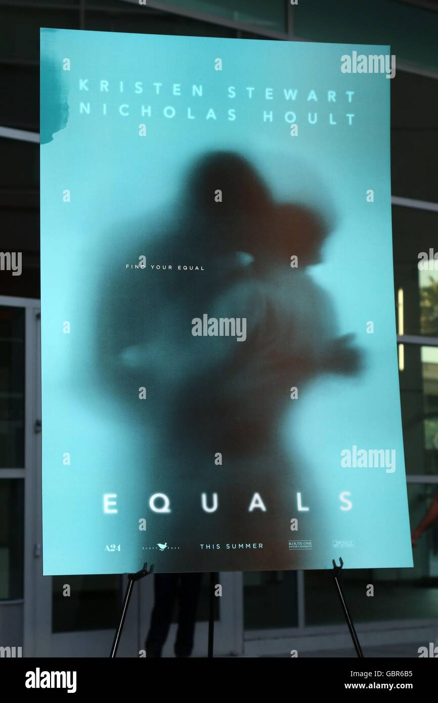 Los Angeles, CA, USA. 7th July, 2016. Equals Poster at arrivals for EQUALS Premiere, Arclight Hollywood, Los Angeles, Stock Photo
