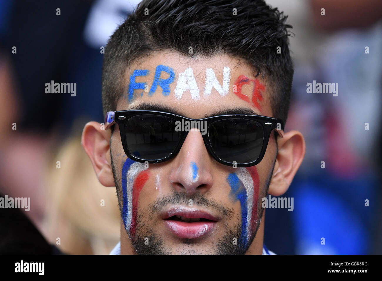 Supporters (France) ; July 07, 2016 - Football : Uefa Euro France 2016, Semifinal, Germany 0-2 France at Stade Velodrome, - Stock Image