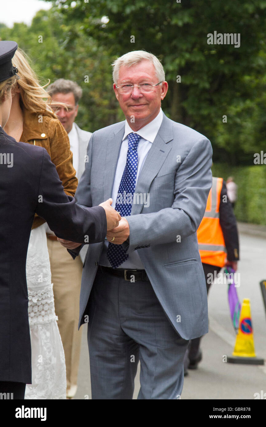 Wimbledon London, UK. 8th July 2016. Former Manchester United manager Sir Alex Ferguson  arrives on Day 12 of the Stock Photo