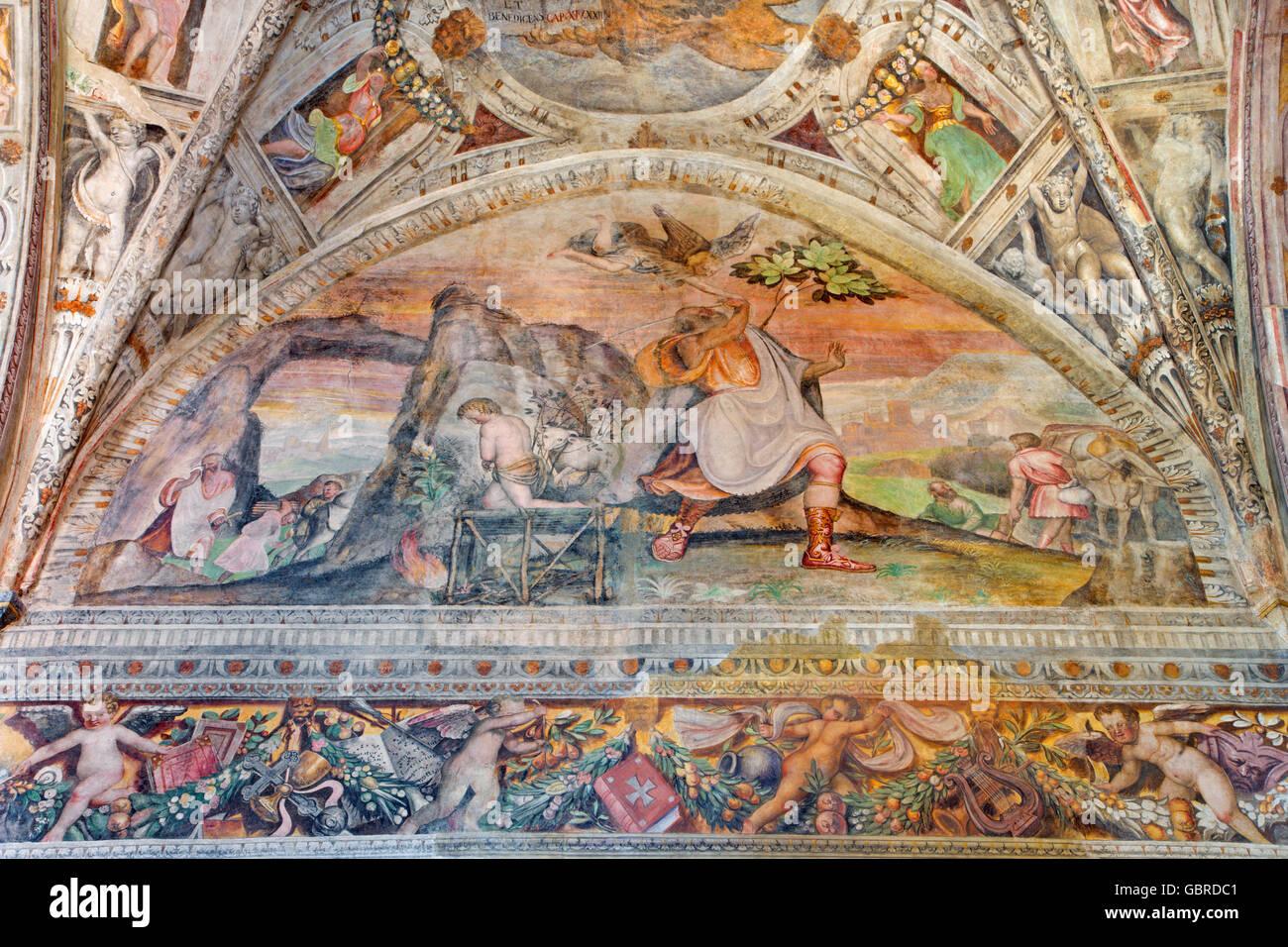 BRESCIA, ITALY - MAY 21, 2016: The fresco of Sacrifice of Isaac in presbytery of church Chiesa del Santissimo Corpo - Stock Image
