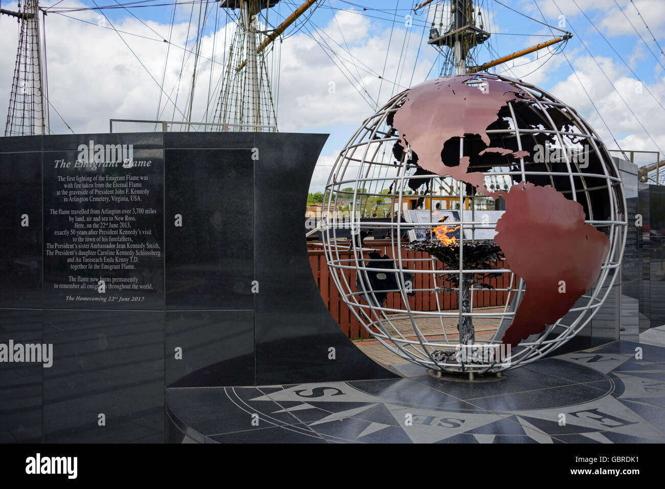 The Emigrant Flame, New Ross, Ireland - Stock Image